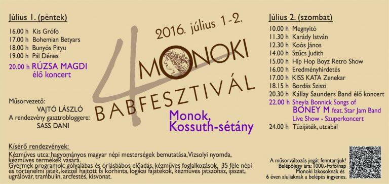 Flyer - Monoki Babfesztivál 2016