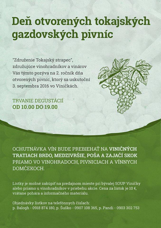 Flyer - Deň otvorených tokajských gazdovských pivníc 2016 – Viničky