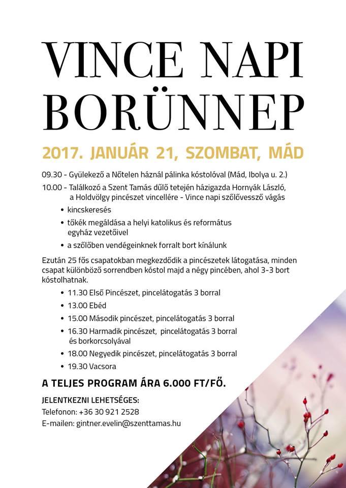 Flyer - Vince Napi Borünnep 2017, Mád