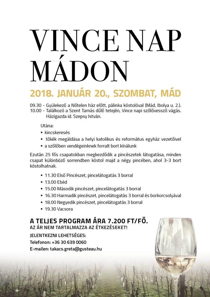 Flyer - VINCE NAPI BORÜNNEP 2018, MÁD